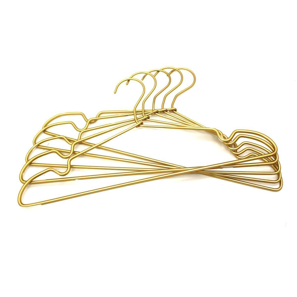 30Pack Koobay 16.5'' Gold Aluminum Laundry Wire Clothes Shirt Coat Suit Hangers with PVC-Coated and Notches