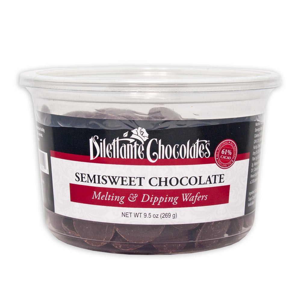 Semisweet Chocolate Melting & Dipping Wafers, 61% Cacao - 9.5 oz Tub - by Dilettante (2 Pack)