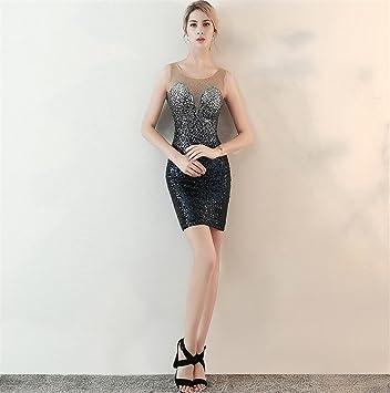 ELEGENCE-Z Vestido De Noche Atractivo Europeo Y Americano, Perspectiva L Perlas Gradientes Paquete