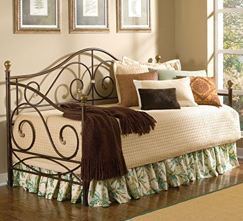 Largo Furniture Boston Metal Daybed in Caramel with Gold Accents - Daybed with Trundle (Metal Beds Largo)