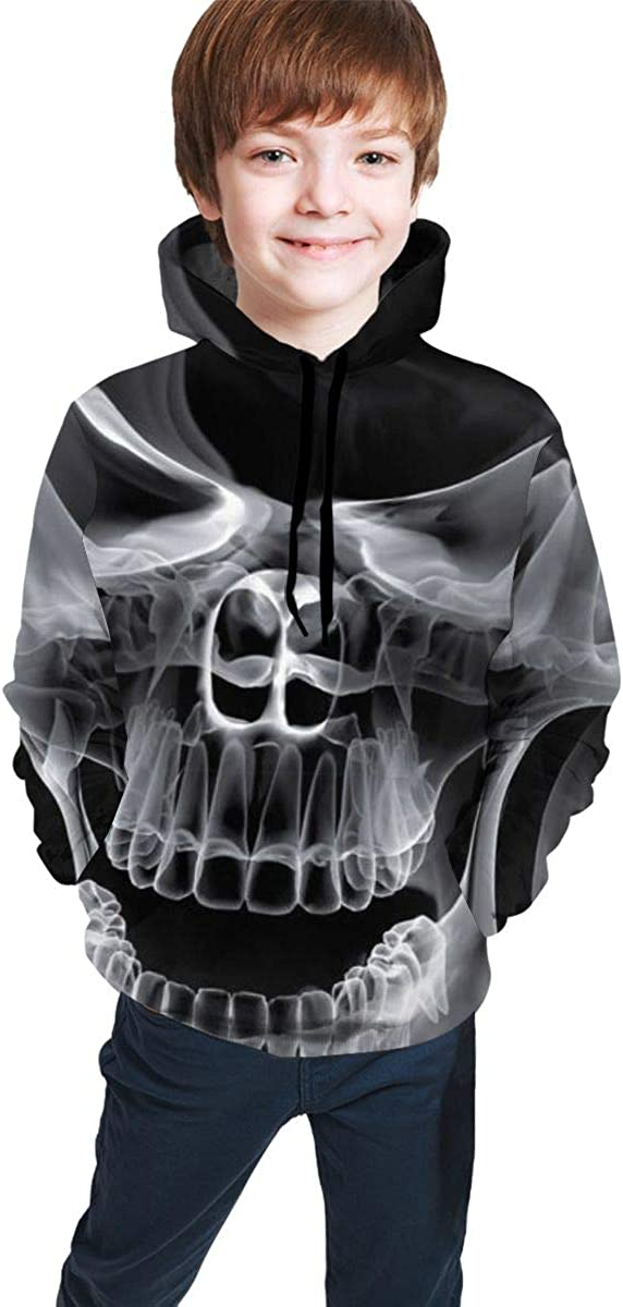 Kjiurhfyheuij Teens Pullover Hoodies with Pocket Skull Smoking Abstract Fleece Hooded Sweatshirt for Youth Kids Boys Girls