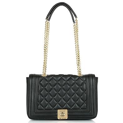 2cec07e4d5 Love Moschino Black Regina Quilted Shoulder Bag Black Leather ...