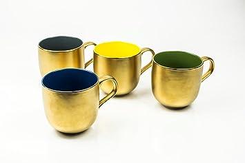 Amazon.com | Yedi Set of 4 Desert Gold Mugs: Coffee Cups & Mugs