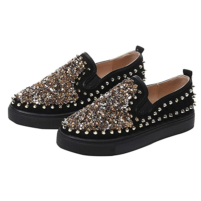 2abb23e2f900a Amazon.com: Yiwanjia Women's Leather Loafers Spikes Slippers Dress ...