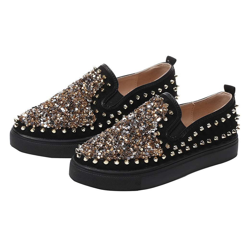 Yiwanjia Women's Leather Loafers Spikes Slippers Dress Shoes Slip-On Flats Lazy Slip-on Loafer (US:8,Black)