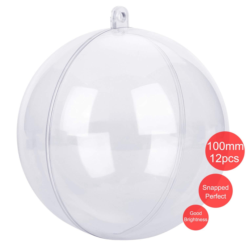 CORKAS Clear Christmas Ornaments 100mm, DIY Christmas Ornaments,Bath Bomb Mold, Pack of 12 Individual Ornaments