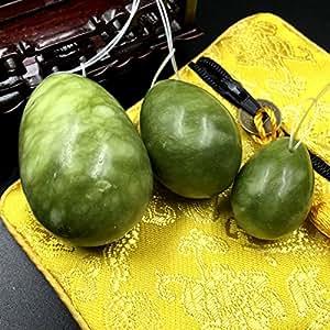 Set of 3 Natural Green Jade Egg,MUIIGOOD Yoni Egg,Kegel Balls,Massage Stones for Kegel Exercise Pelvic Floor Muscles Vaginal Exercise Health Care Ben Wa Balls for Women Gift