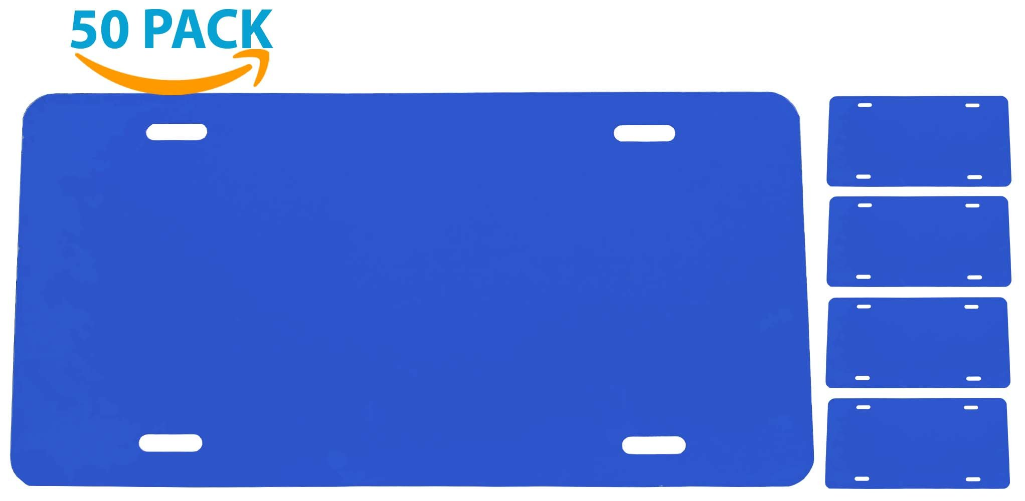 CHEVRON BLUE [50-PACK] License Plate Blank - Aluminum - 0.040 Thickness/1mm - Standard US/Canada Size 12x6