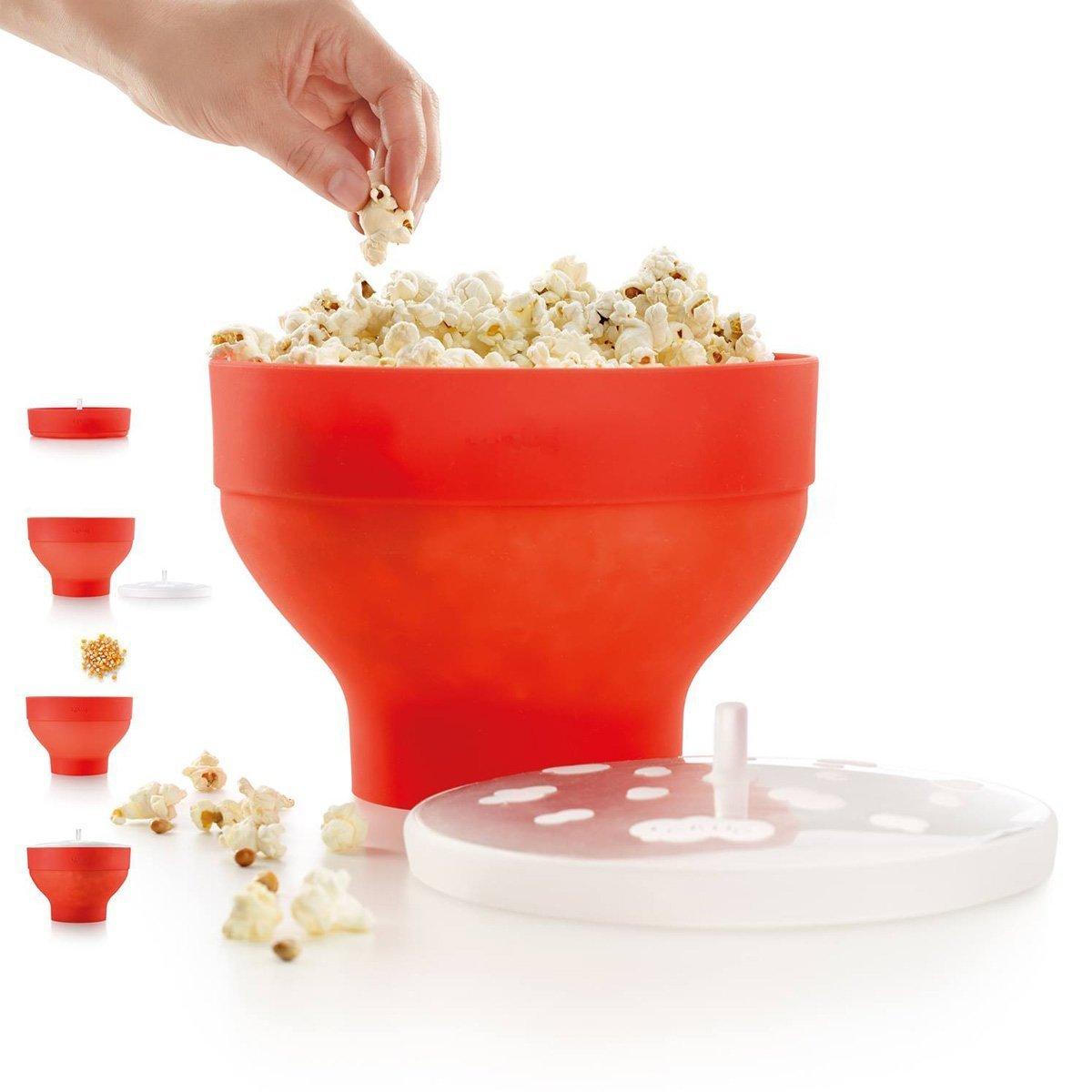 Richard Bergendi PoPuP Mikrowelle Popcorn Popper mit praktischen Griffen Silikon Popcorn Maker Faltschale mit Deckel