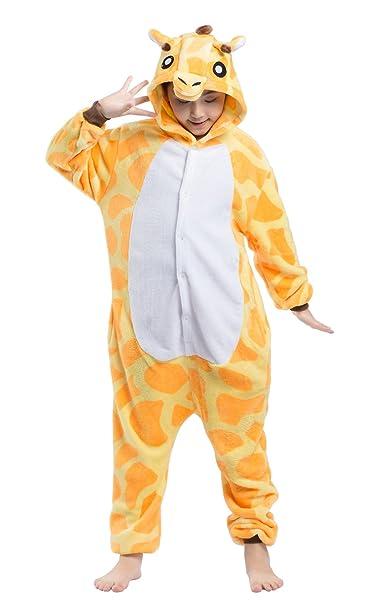 Wamvp Kigurumi Onesie Pijamas Niños Traje Disfraz Animal Pyjamas Cosplay Homewear -Jirafa