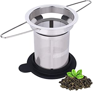 Extra Fine Mesh Tea Infuser by House Again - Fits Standard Cups Mugs Teapots - Perfect Stainless Steel Filter for Brewing Steeping Loose Tea, Travel Ready (Extra fine mesh)