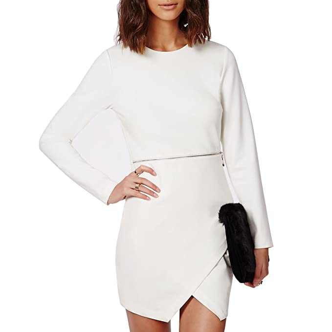 Laisiyi White Work Vestido O-neck Long Sleeve Waist Zip Cross Hem Sheath Mini Dress