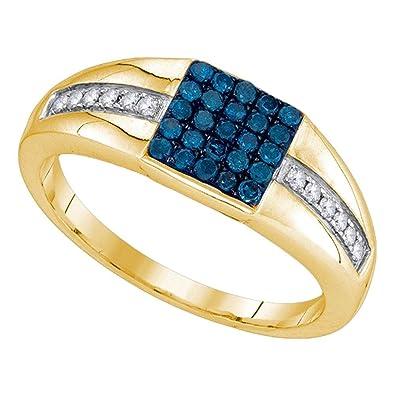 10 KT Or jaune pour homme rond Bleu Couleur amélioré Diamond Square ... 66ffcbf0cb0f