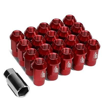 J2 Engineering LN-T7-008-15-RD Red 7075 Aluminum M12X1.5 20Pcs L: 44mm Open End Lug Nut w/Socket Adapter: Automotive