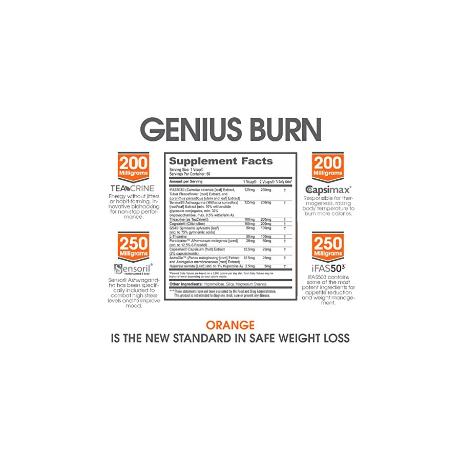 Genius Burn – 2 In 1 Focus Enhancing Thermogenic Fat Burner, Caffeine Free Nootropic Weight Loss Supplement, Natural Energy, Memory and Brain Boost with 9 Clinically Validated Ingredients, 60 V Caps