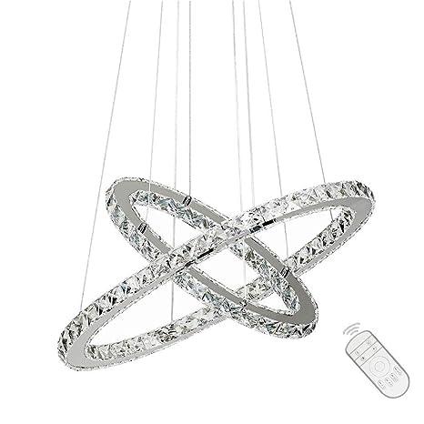 48W LED Lámpara de techo colgante con diseño creativo en cristal Araña Dos anillos (48W Regulable)