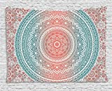 Ambesonne Teal and Coral Tapestry, Ombre Mandala Art Antique Gypsy Stylized Folk Pattern Mystical Cosmos Image, Wall Hanging for Bedroom Living Room Dorm, 60 W X 40 L Inches, Teal Coral