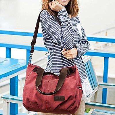 BMC Womens Canvas Double Top Handle Shoulder Tote Shopper Handbag