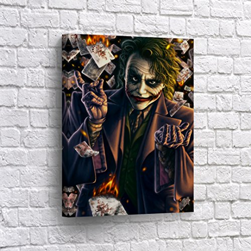 Buy4Wall Joker Heath Ledger in Playing Cards Painting CANVAS PRINT Cartoon Wall Art Decorative Home Decor Poster Artwork Framed and Stretched- Ready to Hang -%100 Handmade in the USA - -