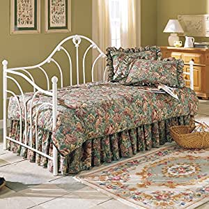 Emma Metal Daybed Frame with Curved Spindles and Camelback Arch, Antique White Finish, Twin