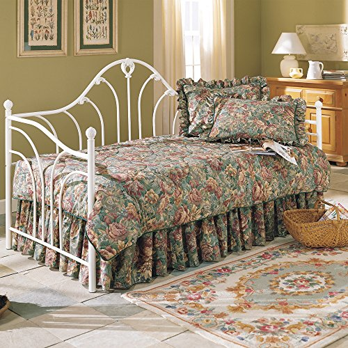 Emma Metal Daybed Frame with Curved Spindles and Camelback Arch, Antique White Finish, (Camelback Wood Daybed)