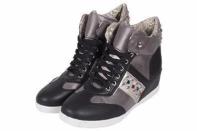 Womens ladies high heel wedge diamante low top trainers sneakers booties size