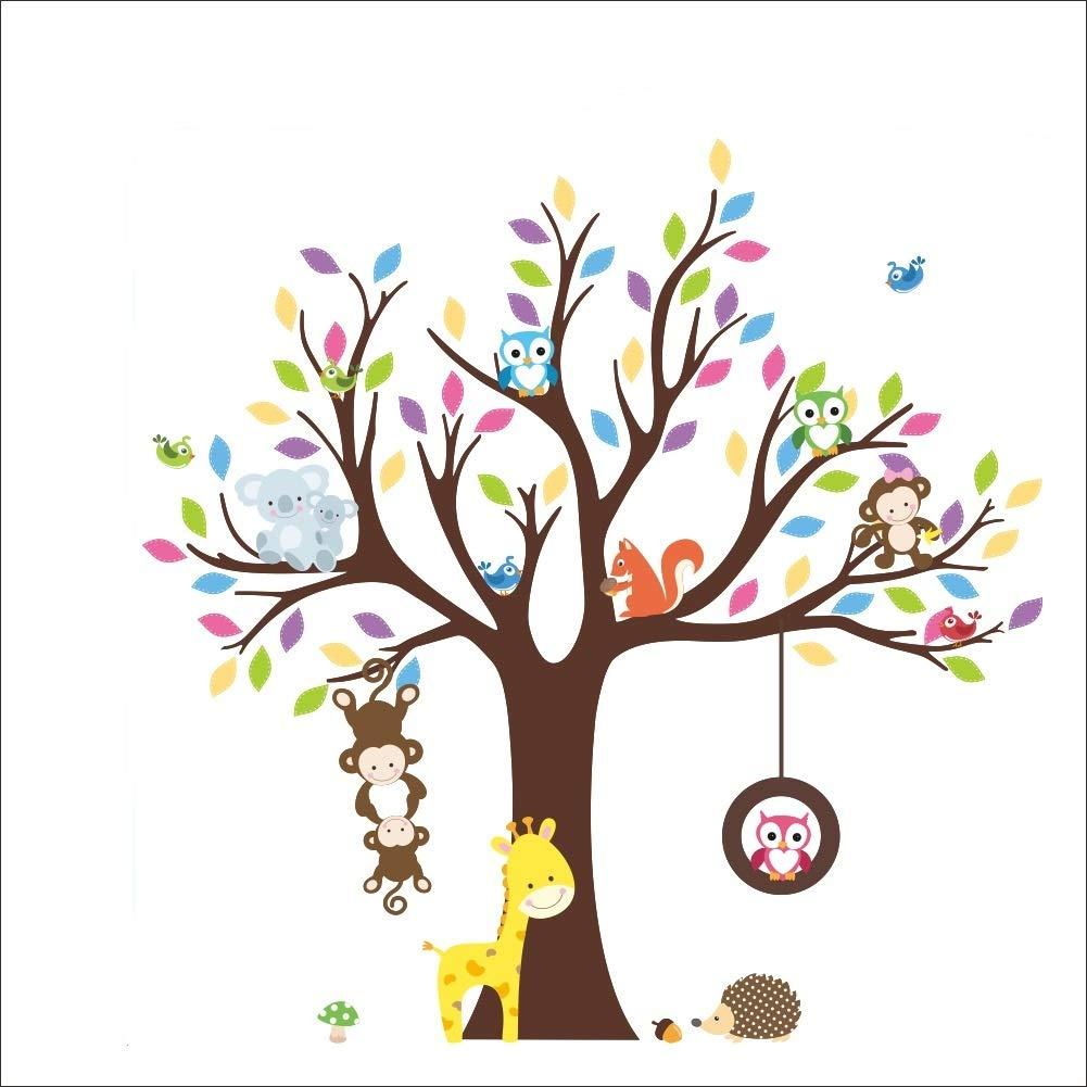 Rocwart Cartoon Forest Animal Sticker - Kid Baby Nursery Owl Monkey Bear Tree Wall Decals Removable Vinyl Wall Stickers Murals Home Decoration DIY Living Bedroom Wallpaper Kids Room Gift