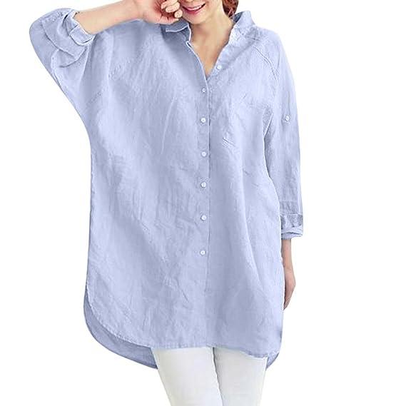 DOGZ Mujer Camisetas Moda Botón Algodón y Lino Larga sección Manga Larga Camisa Color sólido Bolsillo