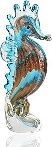 Hophen Handmade Art Glass Blown Seahorse Hippocampus Animal Figurine Dollhouse Miniature Paper Weight Statue Collectible Christmas Birthday Gift Home Decor (Blue)