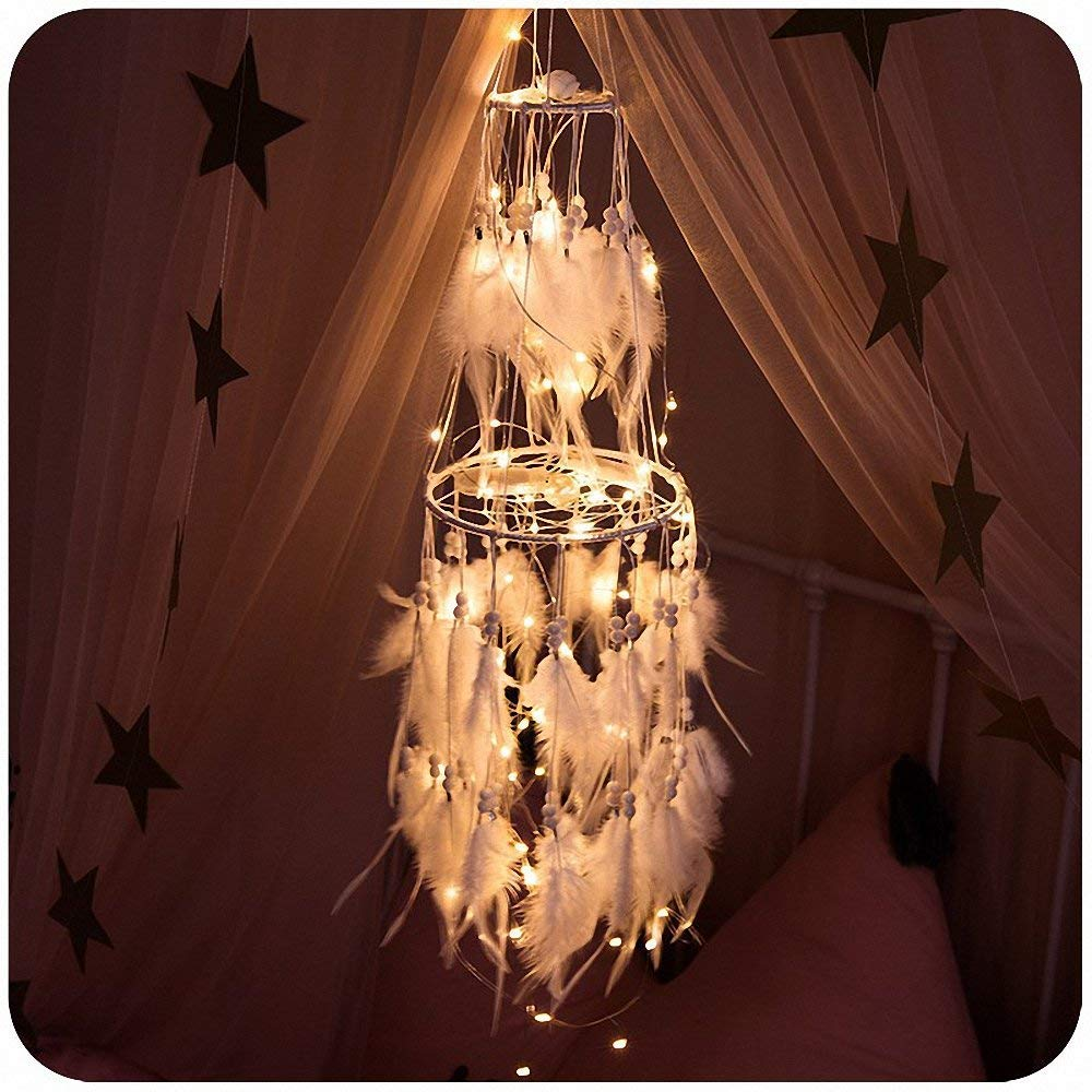 Anmada Dream Catcher with 32.8 ft Twinkle Light 80 Stars Battery Operated for Wedding Party Bedroom Christmas Decorative, 2.6ft White Warm