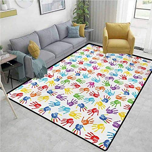 Colorful Area Rug Human Handprint Kids Watercolor Paint Effect Open Palms Collage Art Work Print Breathability W63 x L94 Multicolor