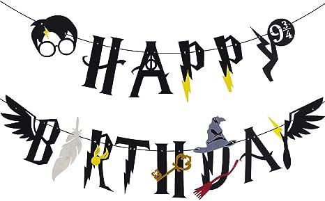 Image of JeVenis Wizard Birthday Party Supplies Set Wizard inspirado Happy Birthday Banner Wizard Theme Decoraciones para fiestas
