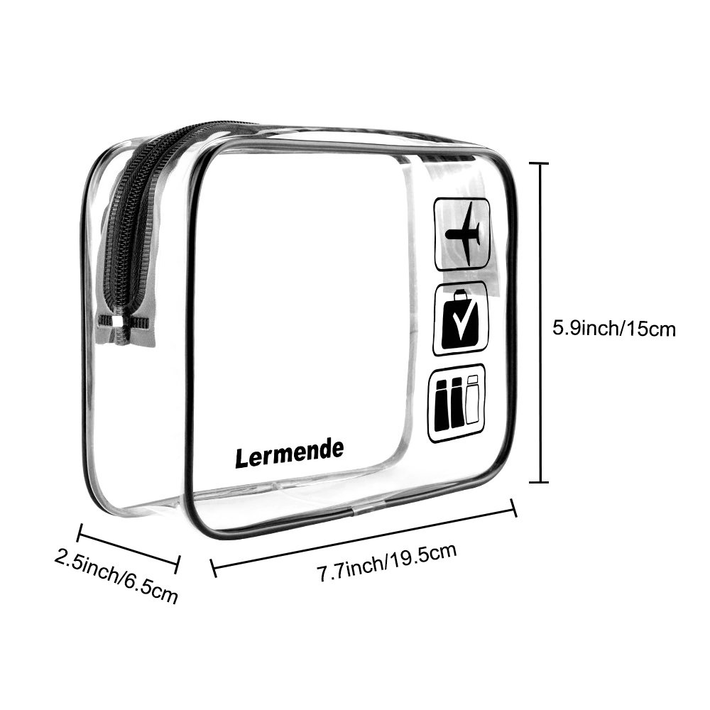 2pcs/pack Lermende Clear Toiletry Bag TSA Approved Travel Carry On Airport Airline Compliant Bag Quart Sized 3-1-1 Kit Luggage Pouch (Black) by Lermende (Image #2)