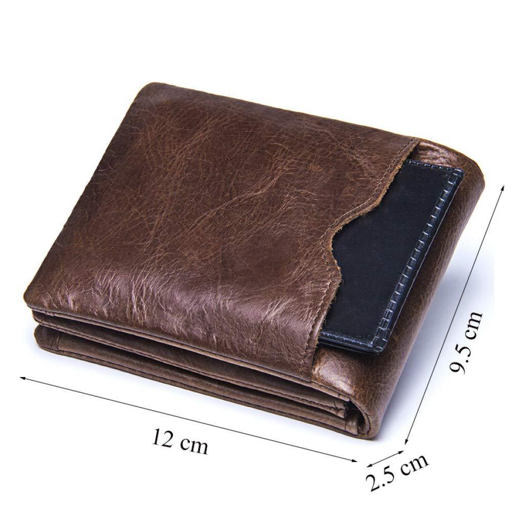 KHGUDS Genuine Leather Men Wallets Vintage Trifold Wallet Zip Coin Pocket Purse Leather Wallet For Mens