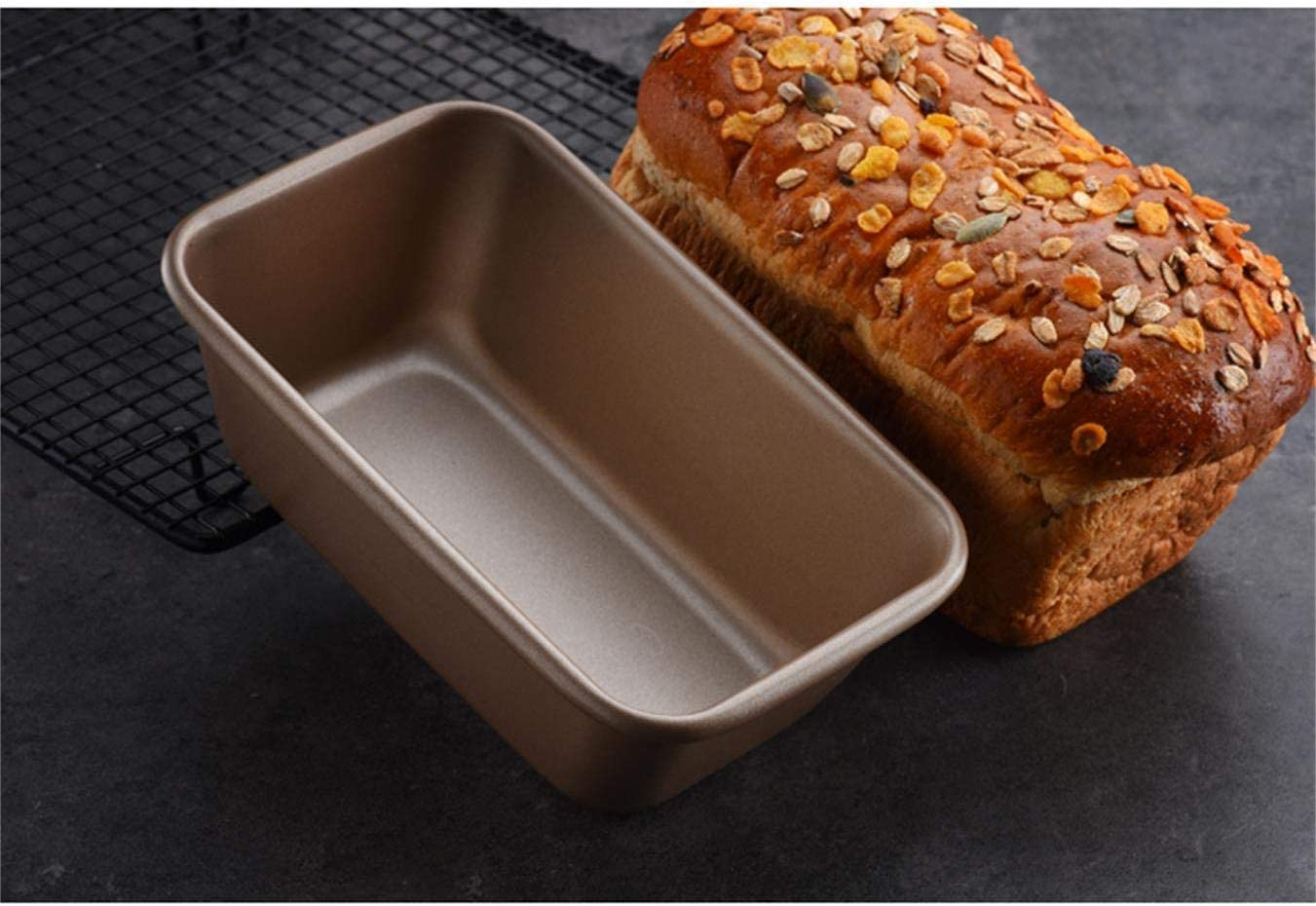 Yesland 2 Pack Loaf Bread Pan Nonstick Carbon Steel Baking Bread Pan Rectangle loaf pan Non Stick loaf Cake pan 9.45 x 5.7