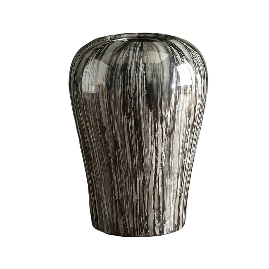 MAHONGQING 花瓶新しい中国のホームアクセサリーグレー木目セラミック花瓶装飾大粘土ポットフラワーリビングルームフラワーアレンジメント (Size : S) B07S89SH2S  Small