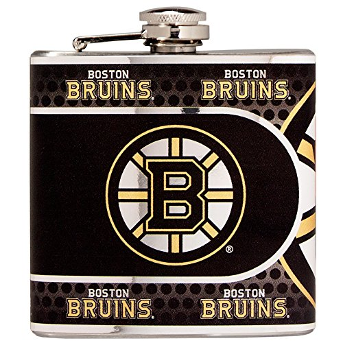 Great American Products NHL Boston Bruins Stainless Steel Hip Flask with Metallic Graphics, 6 oz, Silver ()