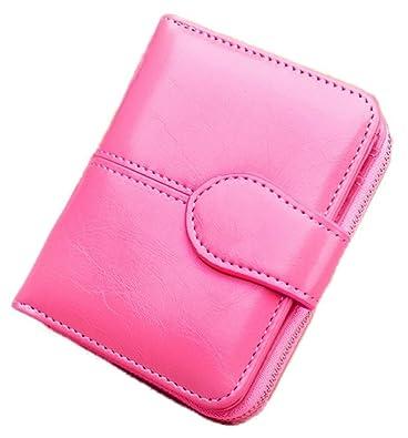 cdd39dbf7aab レディース 二つ折り 財布 ミニ ウォレット 大容量 お札 小銭 カード コンパクト 収納 (ピンク)