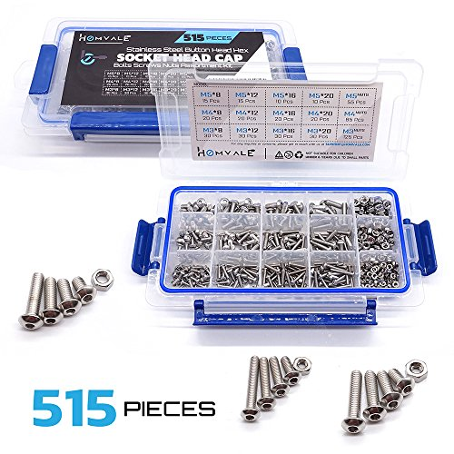 304 Stainless Steel Screw and Nut 515pcs, M3 M4 M5 Metric Socket Head Bolt and Nut Assortment Set