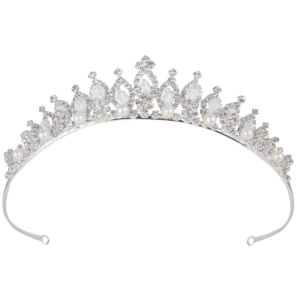 BriLove Women's Crystal Victorian Style Simulated Pearl Bling Wedding Bridal Crown Hair Tiara Silver-Tone by BriLove (Image #1)