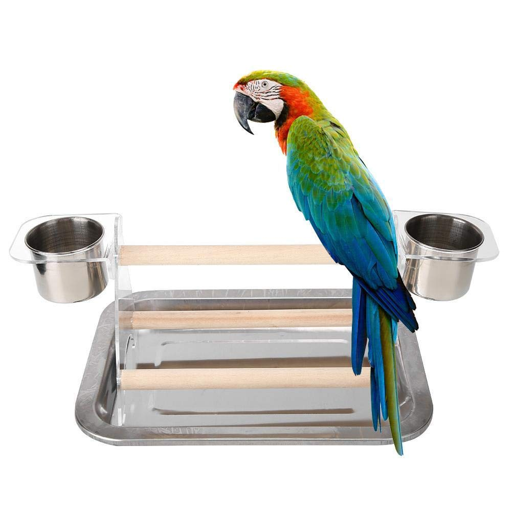 UTOPIAY Bird Playstand with 2 Feeding Cups Parrot Playground Wood Perch Gym Training Stand Playpen Bird Toys Exercise Playgym Small Birds Cage Accessories Toy for Parakeet Conure Cockatiel,withtray by UTOPIAY