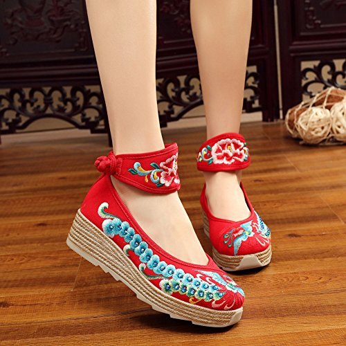 AvaCostume Womens Phoenix Embroidery Increasing Platform Wedge Ankle Band Shoes Red zvu4XAA