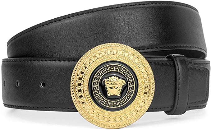 Cinturón Hombre Hebilla Lisa Redonda Dorada Negra Pantalones ...