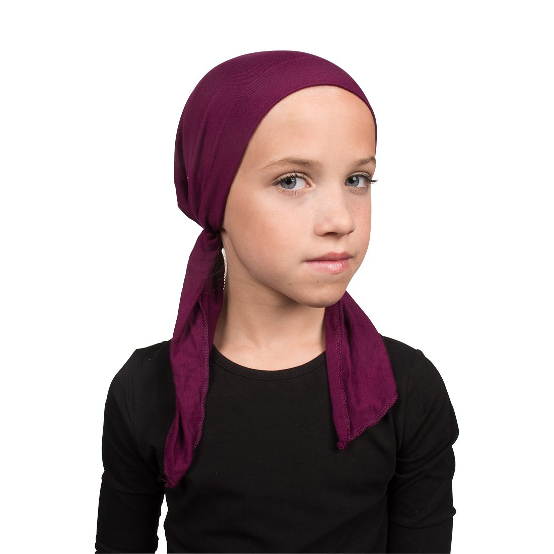 Light Blue Viscose Kids Chemo Cap Pretied for Girls Soft Cancer Scarf