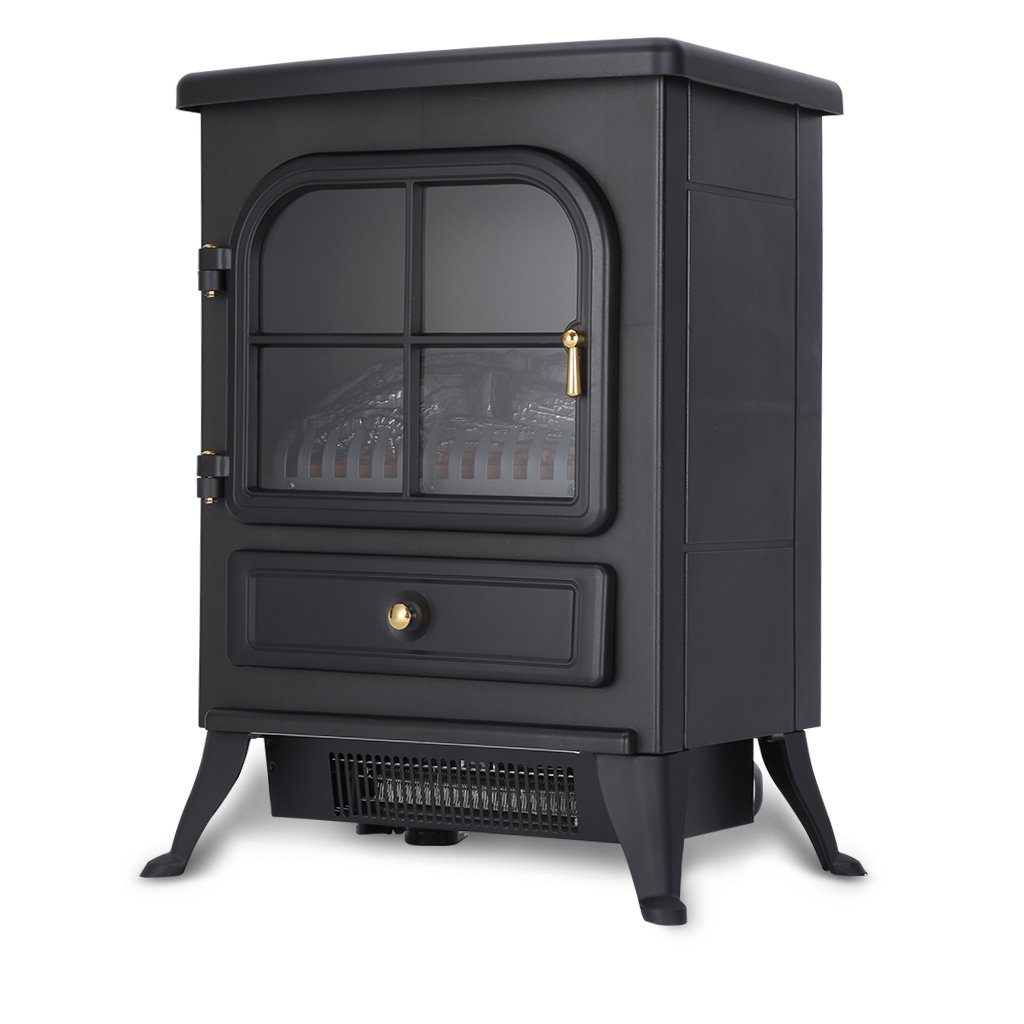 Finether Chimenea Eléctrica, Estufa Eléctrica, Calentador de Fuego Real, 1800 W, 41.5 cm x 28 cm x 54cm, Negro: Amazon.es: Hogar
