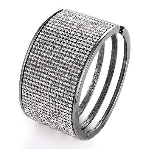 Wide Rhinestone Bangle Bracelets Beaded Hollow Gold Siver Bracelet for Women Girls (Gunmetal)