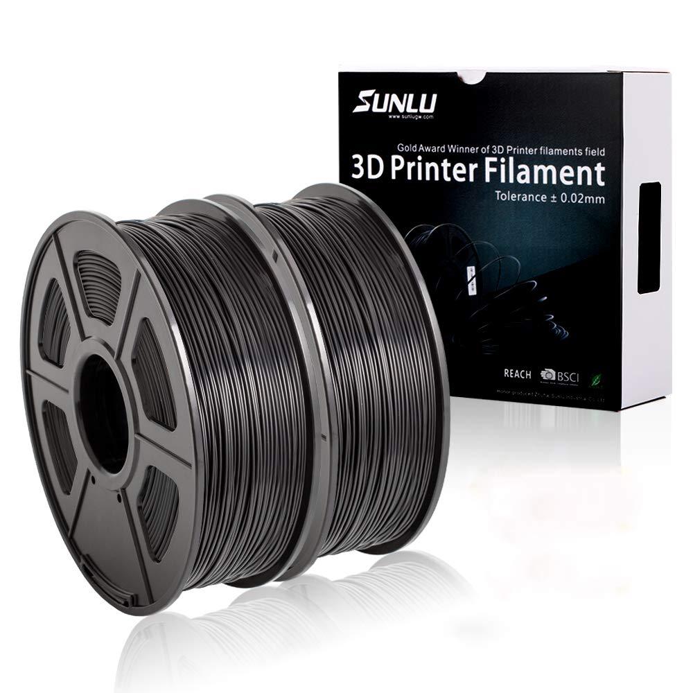 SUNLU 3D Printer Filament PLA+ 3KG (Black-Black-White), 1.75mm PLA Filament, 3D Printing Filament Low Odor, Dimensional Accuracy +/- 0.02 mm, 2.2 LBS (1KG) Spool, 3KG Spools BlBlack-Black-White