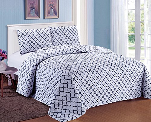 King Size Quilts and Bedspreads Lightweight Hypoallergenic Microfiber 3 Pieces Navy Blue