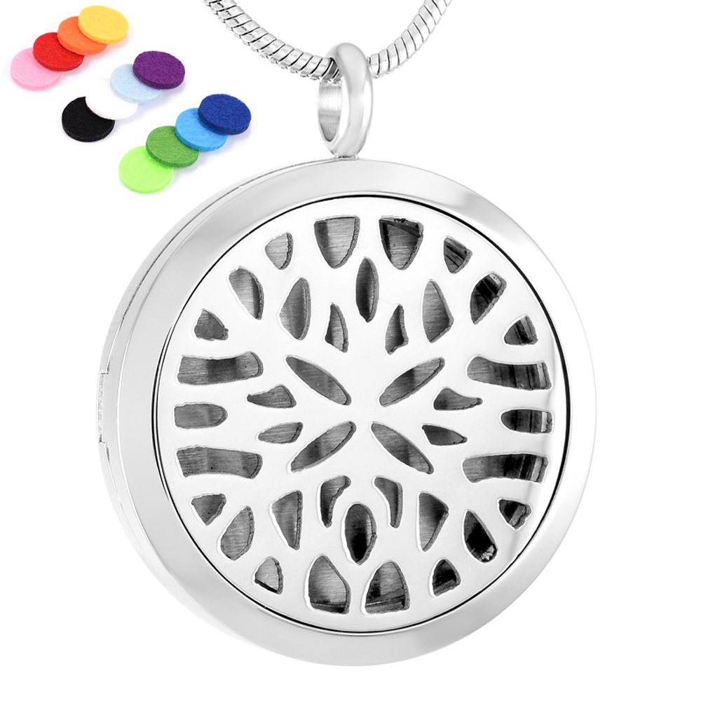 Wearable Essential Oil Diffuser Necklace Stainless Steel Magnetism Locket with Free 12 Washable Pads