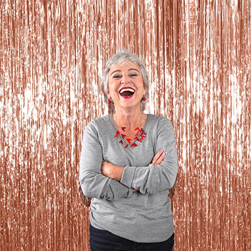 Treasures Gifted Rose Gold Foil Fringe Curtains for Happy Birthday Decorations | 3 x 8 Feet, Pack of 3 | Party Door Curtain for Bridal Shower Wedding Photo Booth Backdrop & Props ()